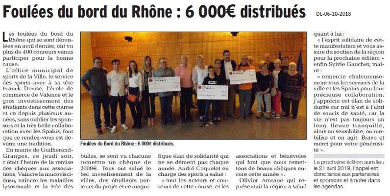 Dauphiné Libéré du 06-10-2018- Foulée du bord du Rhône