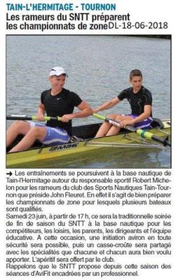 Dauphiné Libéré du 18-06-2018- Le Club des Sports Nautiques Tain-Tournon