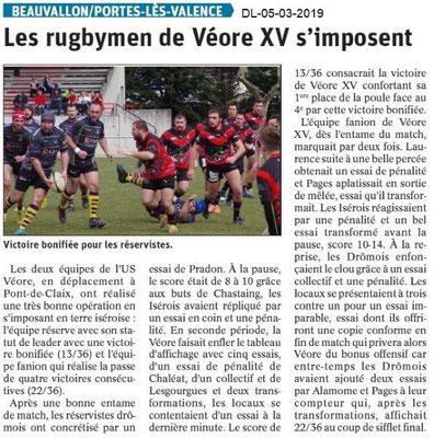 Le Dauphiné Libéré du 05-03-2019- Véore XV