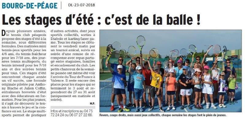 Dauphiné Libéré du 23-07-2018- Stages d'été du Tennis club péageois
