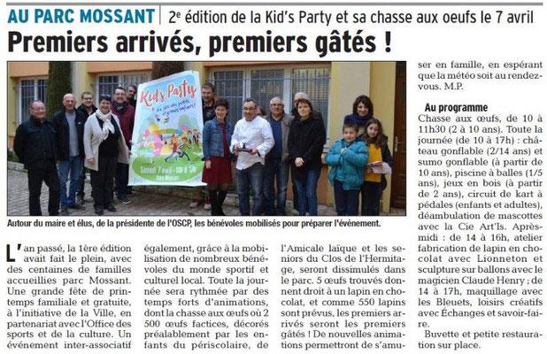 Dauphiné Libéré du 30-03-2018-OSCP Bourg de Péage Kids Party