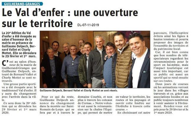 Le Dauphiné Libéré du 07-11-2019- Le Val D'Enfer en 2020 à Guilherand.