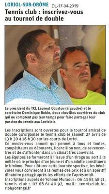 Le Dauphiné Libéré du 17-04-2019- Tennis de Loriol