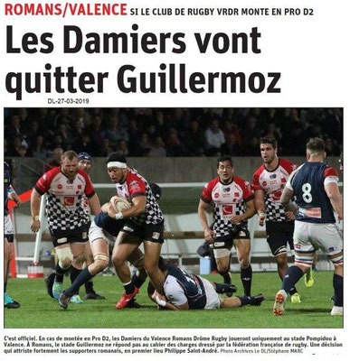 Dauphiné Libéré du 27-03-2019- Les damiers à Valence