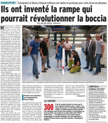 Dauphiné Libéré du 20-06-2018-Nouveau pour la boccia à Valence