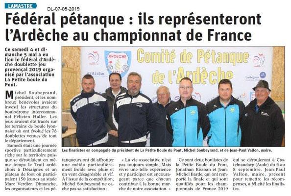 Le Dauphiné Libéré du 07-05-2019- Lamastre en route pour le championnat de France