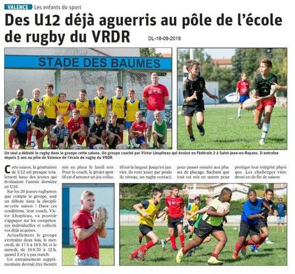 Dauphiné libéré du 18-09-2019- Rugby de Valence