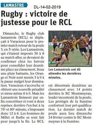 Dauphiné Libéré du 14-02-2019- Rugby de Lamastre