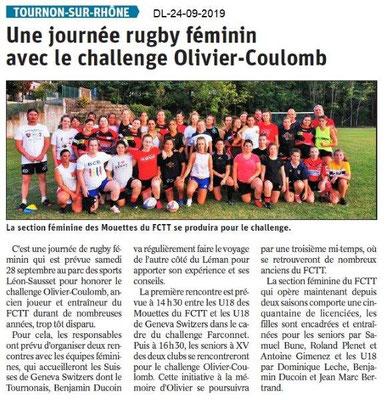 Dauphiné libéré du 24-09-2019- Journée rugby à Tournon
