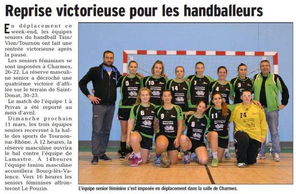 Dauphiné Libéré du 07-03-2018 Handball Séniors Féminines-Tain-Tournon