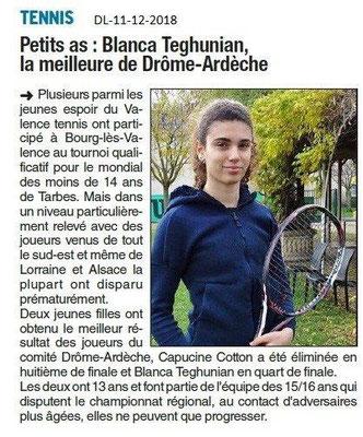 Dauphiné Libéré du 11-12-2018- Espoirs du ténnis à Valence