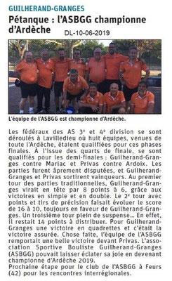 Dauphiné Libéré du 10-06-2019- Pétanque de Guilherand
