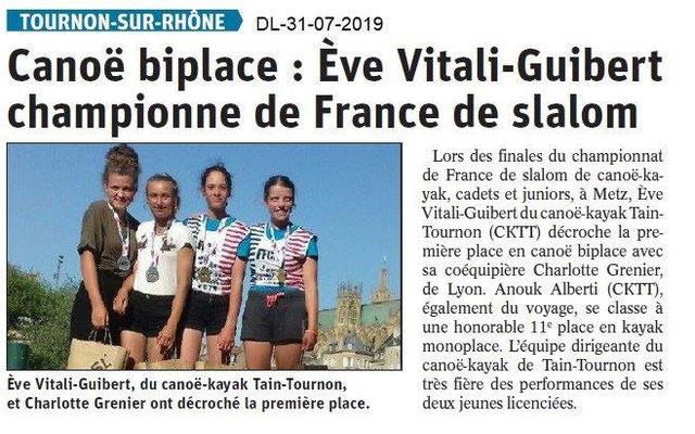 Dauphiné Libéré du 31-07-2019- Tounon