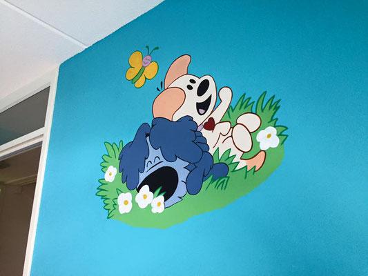 Woezel en Pip muurschildering aangebracht in babykamer