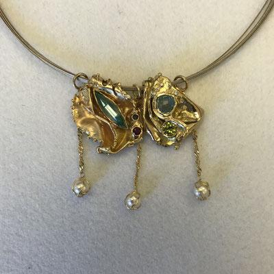 collier or avec diverses pierres et perles  #pearls #neckless #chain #gold