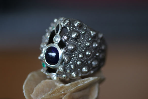 #ring #silver#diamonds#saphir#emeraude #jewellery #artjewellery