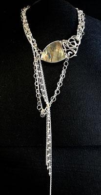 collier argent avec Labradorite #labradorite #neckless #chain #silver