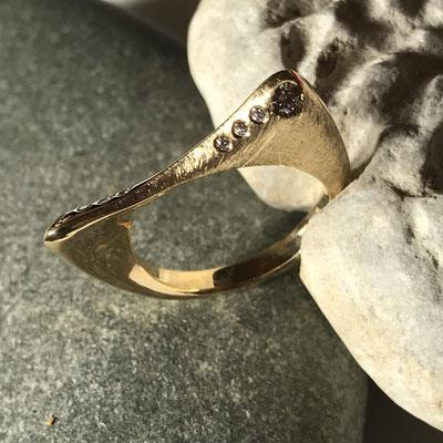 or jaune diamants champagne et blanc #ring #gold#diamonds