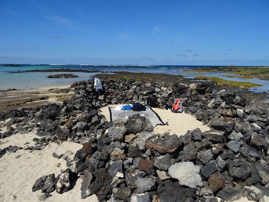 Unser kleiner windgeschützter Badeplatz an der Caleta del Mojón Blanco