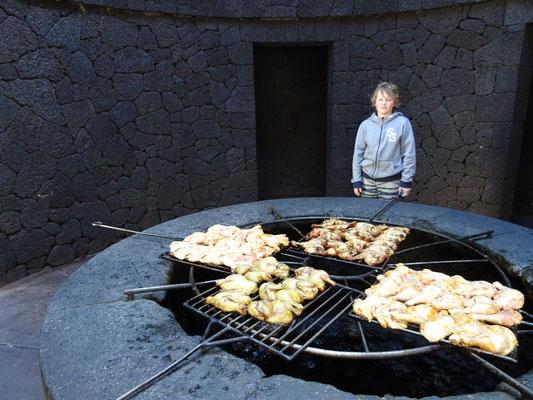 Grillen mit heißer vulkanischen Luft