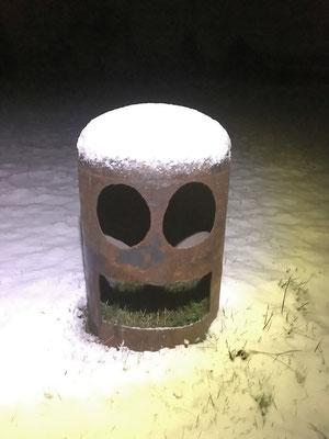 Sculpture métal sous la neige : Grand Tot'Aime © Michel LAURENT