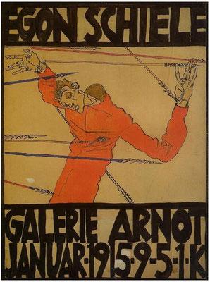 """Hl.Sebastian"" Egon Schiele Ausstellungsplakat , Galerie Arnot 1915"
