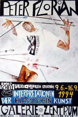 """""""Braune Gewalt"""" Ausstellungsplakat Galerie Zentrum 1994"""
