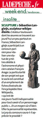 Article La Dépêche, projet sculpture Arago, sculpteur Langloÿs