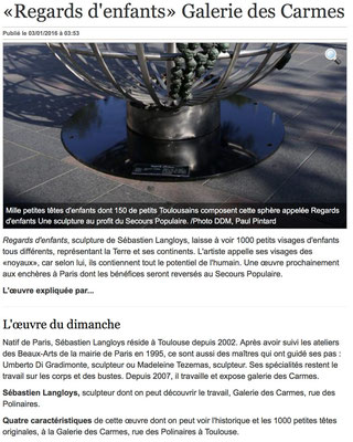 Article La Dépêche, sculpture monumentale Regards d'Enfants, sculpteur Langloÿs