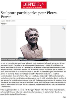 Article La Dépêche, buste de Pierre Perret, sculpteur Langloÿs