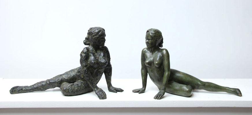 Sculpteur, Langloys, Nu, Bronze, Miroir