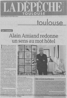 Article La Dépêche, Exposition galerie des Carmes, sculpteur Langloÿs