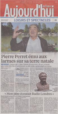 Article Aujourd'hui en France, buste de Pierre Perret, sculpteur Langloÿs