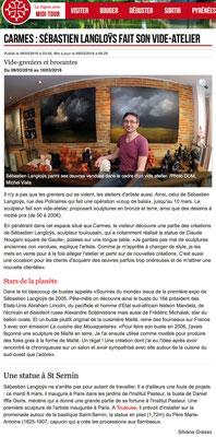 Article La Dépêche, Vide Atelier, sculpteur Langloÿs