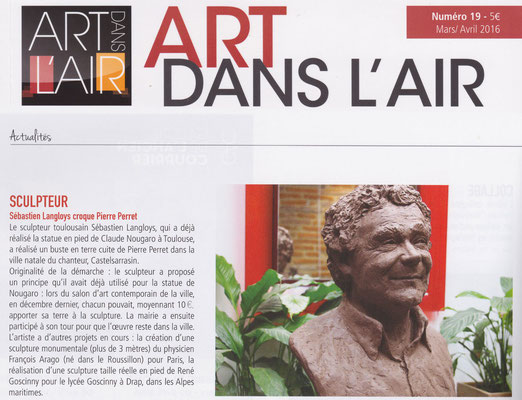 Article Art dans l'Air, buste de Pierre Perret, sculpteur Langloÿs