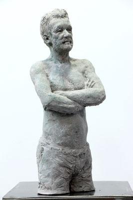 Sculpture voyage, terre patinée, statue, Sébastien Langloÿs