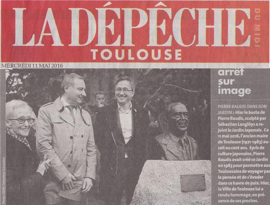 Article La Dépêche, Inauguration buste bronze Pierre Baudis, sculpteur Langloÿs