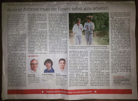 Dr. Geronikolakis in der LKZ zum Thema Arthrose