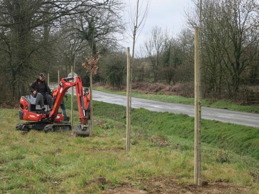 plantation arbustes avec minipelle paysagiste axe Rennes-Vitré-Liffré -Fougères