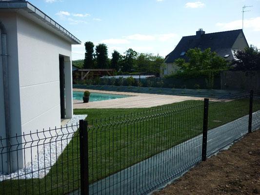 clôture Panneaux grillagés rigides axe Vitré Rennes Liffré Fougères