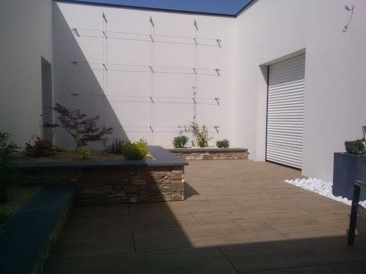 aménagement patio Paysagiste 35140 Saint aubin du cormier