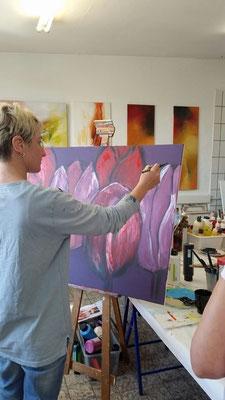 Tulpen auf Leinwand