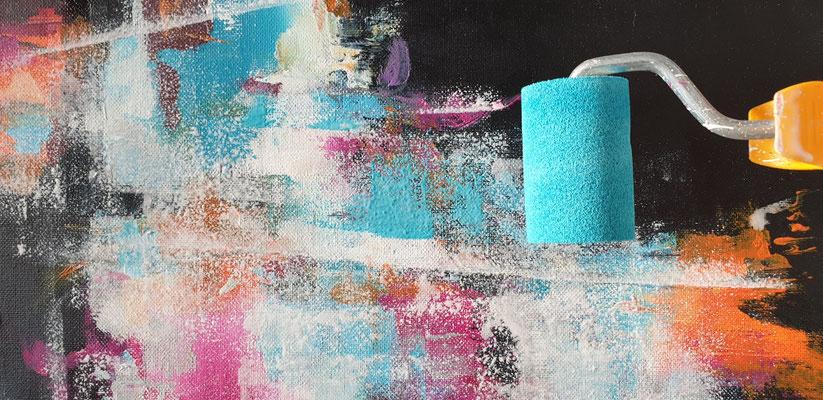 Acryl malen mit Schaumstoffrolle