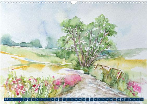 Kalenderblatt Juli Alte Insel Wege