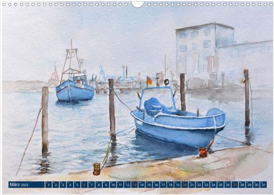 Kalenderblatt März Sassnitzer Hafen