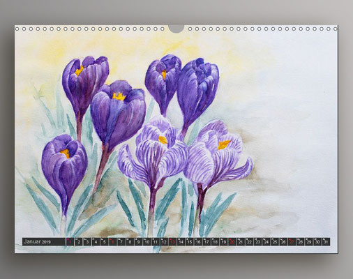 Krokusse in Aquarell