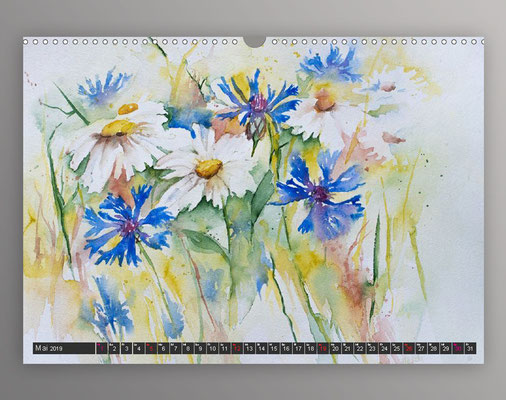 Sommerwiese in Aquarell