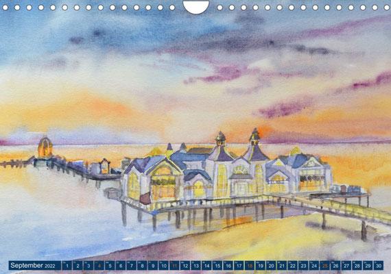Kalenderblatt September Seebrücke Sellin