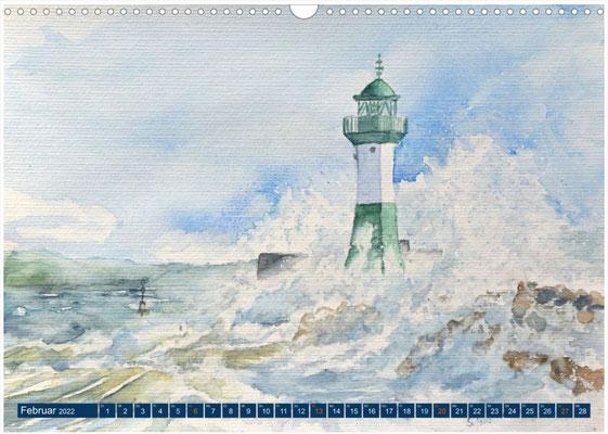 Kalenderblatt Februar Welle am Leuchtturm in Sassnitz