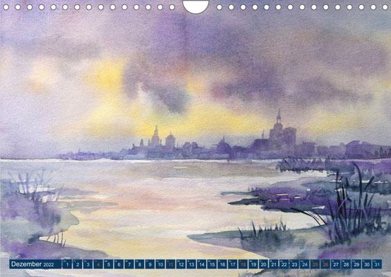 Kalenderblatt Dezember Blick auf Stralsund